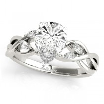 Pear Diamonds Vine Leaf Engagement Ring 14k White Gold (1.00ct)