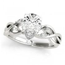 Pear Diamonds Vine Leaf Engagement Ring 14k White Gold (1.50ct)
