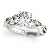 Round Diamonds Vine Leaf Engagement Ring 14k White Gold (0.50ct)