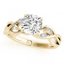 Twisted Cushion Diamonds Vine Leaf Engagement Ring 14k Yellow Gold (1.00ct)