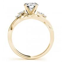 Twisted Cushion Diamonds Vine Leaf Engagement Ring 14k Yellow Gold (1.00ct)
