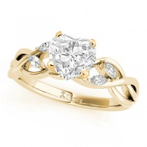 Twisted Heart Diamonds Vine Leaf Engagement Ring 14k Yellow Gold (1.00ct)