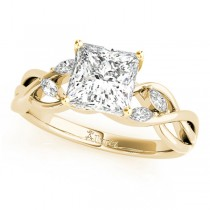 Twisted Princess Diamonds Vine Leaf Engagement Ring 14k Yellow Gold (0.50ct)