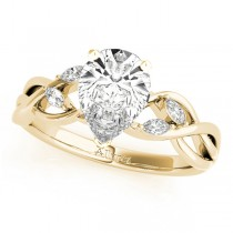 Twisted Pear Diamonds Vine Leaf Engagement Ring 14k Yellow Gold (1.50ct)