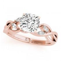 Twisted Cushion Diamonds Vine Leaf Engagement Ring 18k Rose Gold (1.00ct)