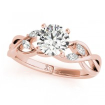 Twisted Round Diamonds & Moissanite Engagement Ring 18k Rose Gold (0.50ct)