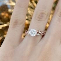 Diamond Marquise Vine Leaf Engagement Ring Setting 18k Rose Gold (0.20ct)