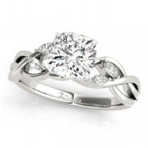 Twisted Cushion Diamonds Vine Leaf Engagement Ring 18k White Gold (1.50ct)