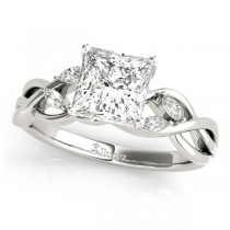 Twisted Princess Diamonds Vine Leaf Engagement Ring 18k White Gold (0.50ct)