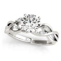 Twisted Round Diamonds & Moissanite Engagement Ring 18k White Gold (0.50ct)