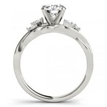 Twisted Round Diamonds Vine Leaf Engagement Ring 18k White Gold (1.00ct)