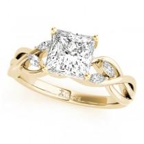 Twisted Princess Diamonds Vine Leaf Engagement Ring 18k Yellow Gold (1.50ct)