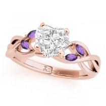 Twisted Heart Amethysts Vine Leaf Engagement Ring 14k Rose Gold (1.50ct)