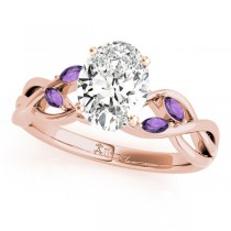 Twisted Oval Amethysts Vine Leaf Engagement Ring 14k Rose Gold (1.50ct)