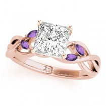 Twisted Princess Amethysts Vine Leaf Engagement Ring 14k Rose Gold (0.50ct)