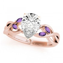 Twisted Pear Amethysts Vine Leaf Engagement Ring 14k Rose Gold (1.50ct)
