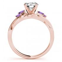 Twisted Round Amethysts Vine Leaf Engagement Ring 14k Rose Gold (1.00ct)
