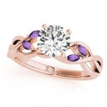 Twisted Round Amethysts Vine Leaf Engagement Ring 14k Rose Gold (1.50ct)