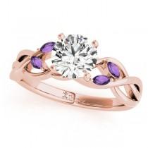 Twisted Round Amethysts Vine Leaf Engagement Ring 14k Rose Gold (1.50ct)