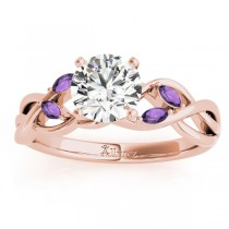 Amethyst Marquise Vine Leaf Engagement Ring 14k Rose Gold (0.20ct)