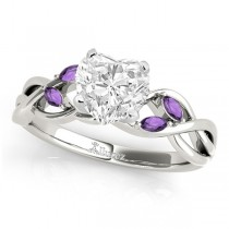 Heart Amethysts Vine Leaf Engagement Ring 14k White Gold (1.50ct)