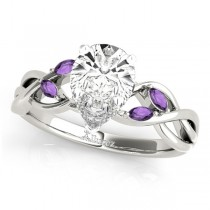 Pear Amethysts Vine Leaf Engagement Ring 14k White Gold (1.00ct)