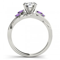 Twisted Round Amethysts & Moissanite Engagement Ring 14k White Gold (0.50ct)