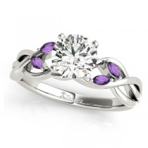 Round Amethysts Vine Leaf Engagement Ring 14k White Gold (0.50ct)