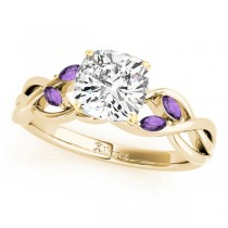 Twisted Cushion Amethysts Vine Leaf Engagement Ring 14k Yellow Gold (1.00ct)