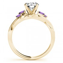 Twisted Cushion Amethysts Vine Leaf Engagement Ring 14k Yellow Gold (1.50ct)