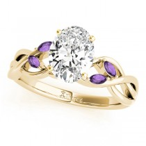 Twisted Oval Amethysts Vine Leaf Engagement Ring 14k Yellow Gold (1.50ct)