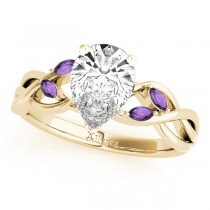 Twisted Pear Amethysts Vine Leaf Engagement Ring 14k Yellow Gold (1.00ct)