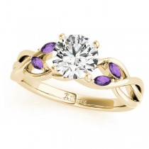 Twisted Round Amethysts & Moissanite Engagement Ring 14k Yellow Gold (0.50ct)