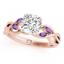 Twisted Cushion Amethysts Vine Leaf Engagement Ring 18k Rose Gold (1.50ct)