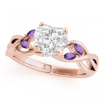 Twisted Heart Amethysts Vine Leaf Engagement Ring 18k Rose Gold (1.50ct)