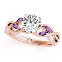 Twisted Round Amethysts & Moissanite Engagement Ring 18k Rose Gold (0.50ct)