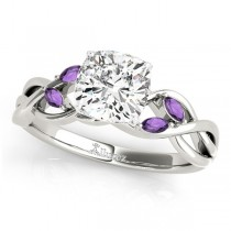 Twisted Cushion Amethysts Vine Leaf Engagement Ring 18k White Gold (1.50ct)