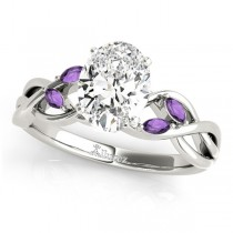 Twisted Oval Amethysts Vine Leaf Engagement Ring 18k White Gold (1.50ct)