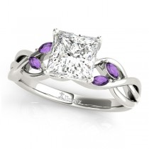 Twisted Princess Amethysts Vine Leaf Engagement Ring 18k White Gold (0.50ct)