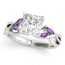 Twisted Princess Amethysts Vine Leaf Engagement Ring 18k White Gold (0.50ct)