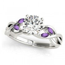 Twisted Round Amethysts & Moissanite Engagement Ring 18k White Gold (1.00ct)