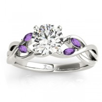 Amethyst Marquise Vine Leaf Engagement Ring Palladium (0.20ct)
