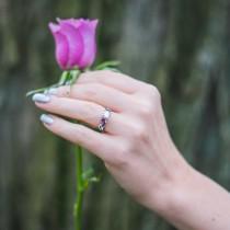 Amethyst Marquise Vine Leaf Engagement Ring Palladium (0.20ct)