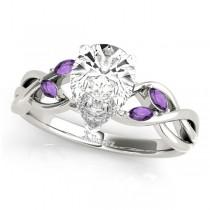 Twisted Pear Amethysts Vine Leaf Engagement Ring Platinum (1.00ct)