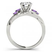 Twisted Round Amethysts Vine Leaf Engagement Ring Platinum (1.00ct)