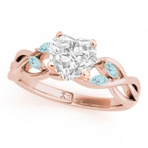 Twisted Heart Aquamarines Vine Leaf Engagement Ring 14k Rose Gold (1.00ct)