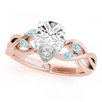 Twisted Pear Aquamarines Vine Leaf Engagement Ring 14k Rose Gold (1.50ct)