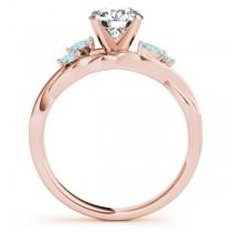 Twisted Round Aquamarines & Moissanite Engagement Ring 14k Rose Gold (0.50ct)