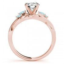 Twisted Round Aquamarines & Moissanite Engagement Ring 14k Rose Gold (1.50ct)