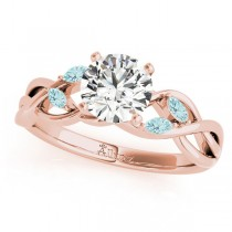 Twisted Round Aquamarines Vine Leaf Engagement Ring 14k Rose Gold (0.50ct)